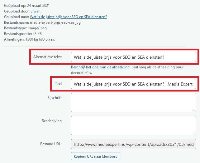 Alt teksten voorbeelden in WordPress