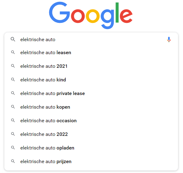 elektrische-auto-google-suggesties